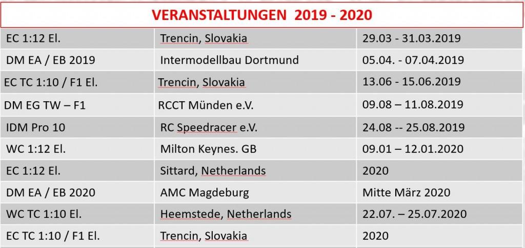 Renntermine EG 2019 - 2020