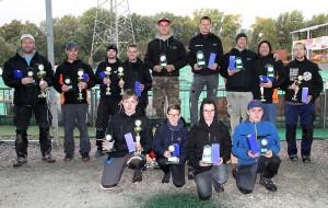 Siegerehrung Buggy 2 WD. Auf dem Podium (von links): Tobias Doller (Platz 2), Michael Herbers (Platz 1) und Sascha Kousz (Platz 3).